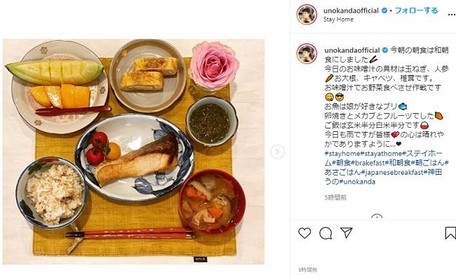神田うの 朝食写真