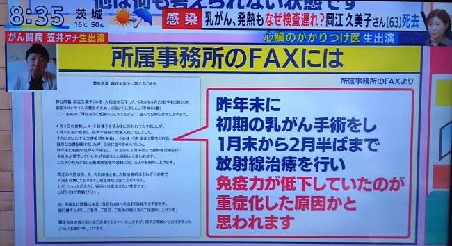 岡江久美子の持病は乳がん